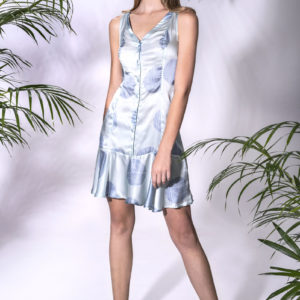 Summer dress with blue print. Made from Rayon Satin.