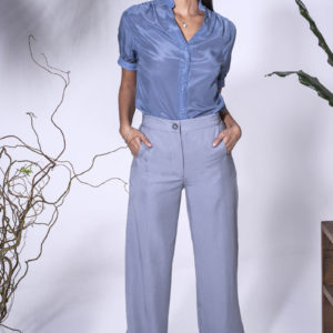 Doris Blouse with Molly Pants. Available in blue and green. Made from crepe de chine.