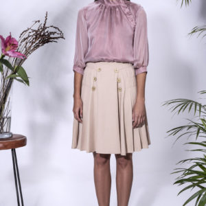 Isla Blouse with Pippa Skirt. Made from satined chiffon and crepe satin.