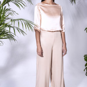 Jasmine Pants with Melia Blouse. Made from stretch Cupro