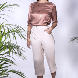 Melia Blouse with Tia Pants. Made from crepe satin.