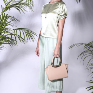 Melody Blouse with Pleated Forest Pants. Made from silk satin