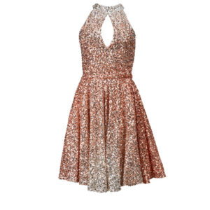 Rose gold and silver sequin dress.