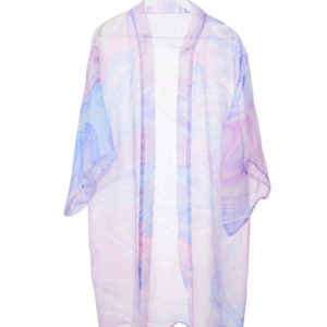 Blue and pink leaves on silk chiffon Kaftan dress. Designed and manufactured in South Africa.