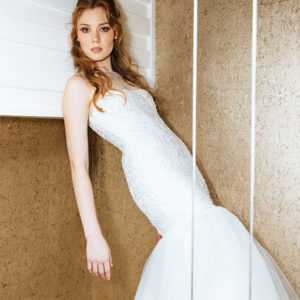 Beautiful mermaid lace wedding dresses with tulle skirt. Designed and manufactured in South Africa.