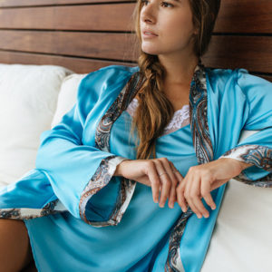 Blue silk dressing gown with paisley trim