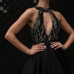 Black and Gold Cocktail Gown