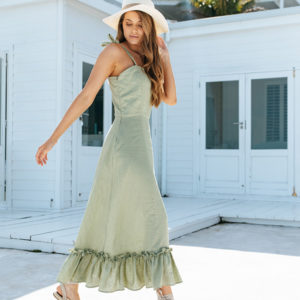 Women's summer dress made from 100% Irish linen. Available in Dark Olive, Dusty Pink, Green Tea, Mustard, Pearl, Silver and Taupe.