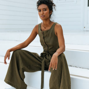 The perfect breezy ladies jumpsuit for your trans-seasonal wardrobe. Made from 100% Irish Linen.