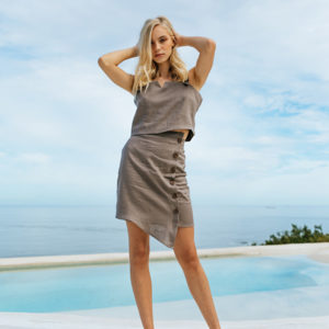 Women's skirt made from 100% Irish linen. Available in Dark Olive, Dusty Pink, Green Tea, Mustard, Pearl, Silver and Taupe.